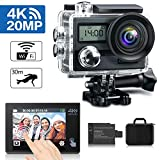 KAMTRON Action Cam 4K Wasserdicht Aktion Kamera - 20MP Ultra Full HD WiFi Unterwasserkamera Helmkamera mit EIS 170°Weitwinkelobjektiv 2'-LCD-Touchscreen 2 wiederaufladbare Batterien